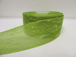 2 metres or 10 metre Roll 25mm 38mm Leaf Green Vintage Slub Ribbon Cotton Net Bouncle